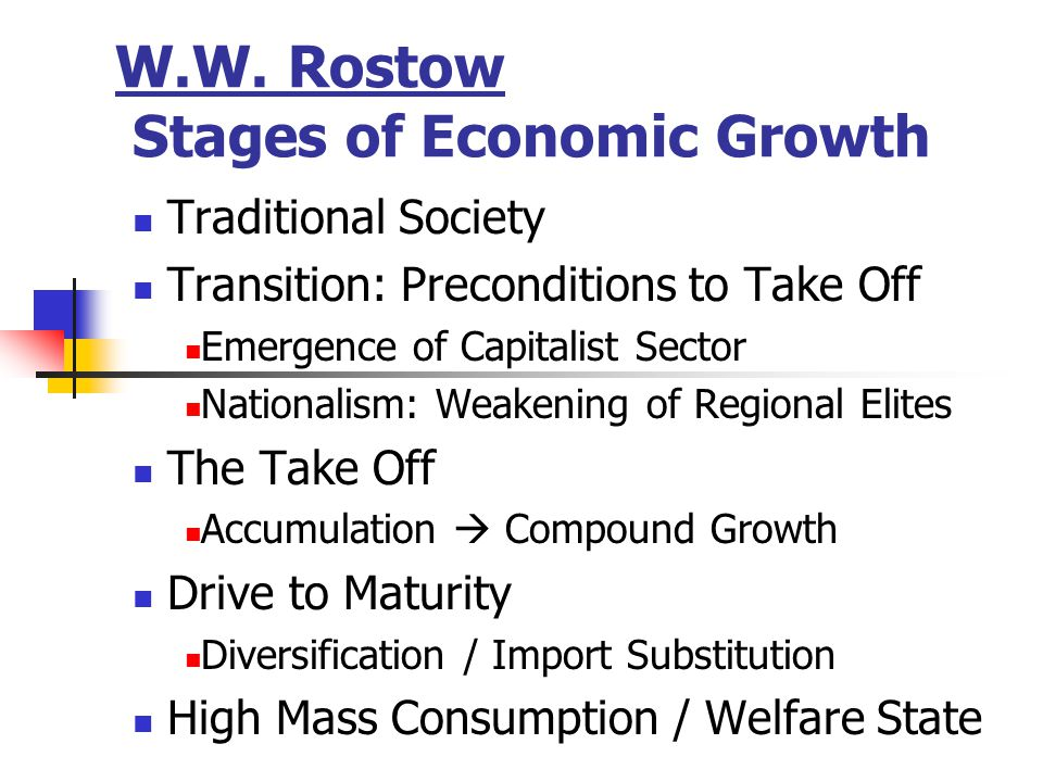 W.W. Rostow Stages of Economic Growth Traditional Society Transition: Preconditions to Take Off Emergence of Capitalist Sector Nationalism: Weakening