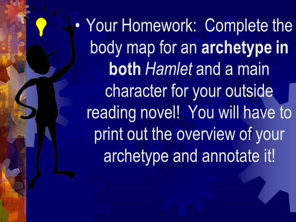 Your Homework: Complete the body map for an archetype in both Hamlet and a main character for your outside reading novel.