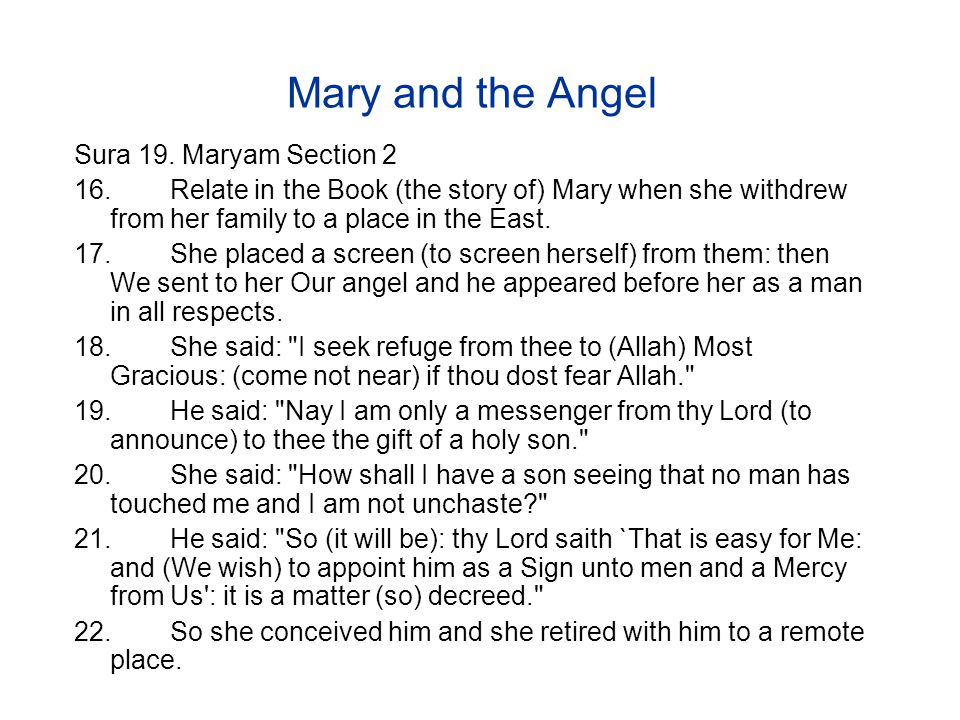 Mary and the Angel Sura 19.