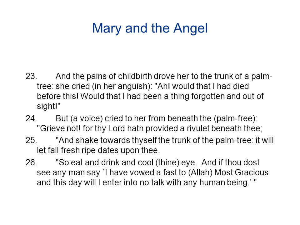 Mary and the Angel 23.And the pains of childbirth drove her to the trunk of a palm- tree: she cried (in her anguish): Ah.