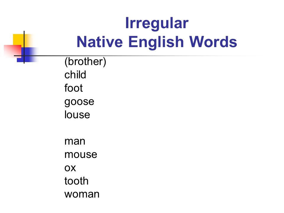 Irregular Native English Words (brother) child foot goose louse man mouse ox tooth woman