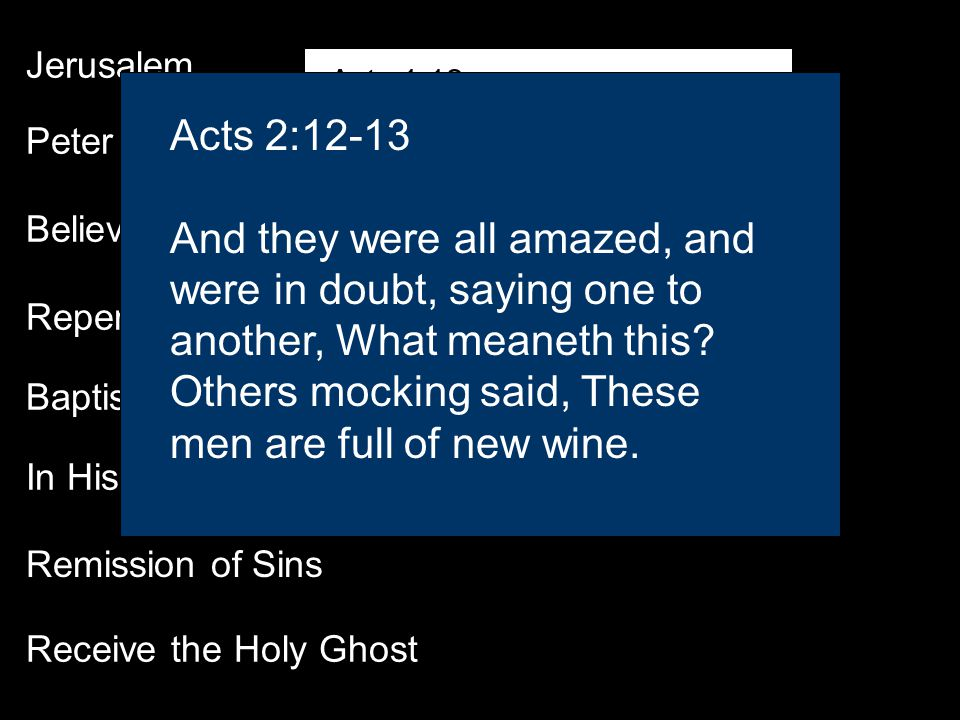 Jerusalem Peter Believe Repentance Baptism In His (Jesus) Name Receive the Holy Ghost Remission of Sins Acts 1:12 Then returned they unto Jerusalem from the mount called Olivet, which is from Jerusalem a sabbath day s journey.