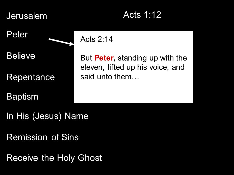 Jerusalem Peter Believe Repentance Baptism In His (Jesus) Name Receive the Holy Ghost Remission of Sins Acts 1:12 Acts 2:14 But Peter, standing up with the eleven, lifted up his voice, and said unto them…