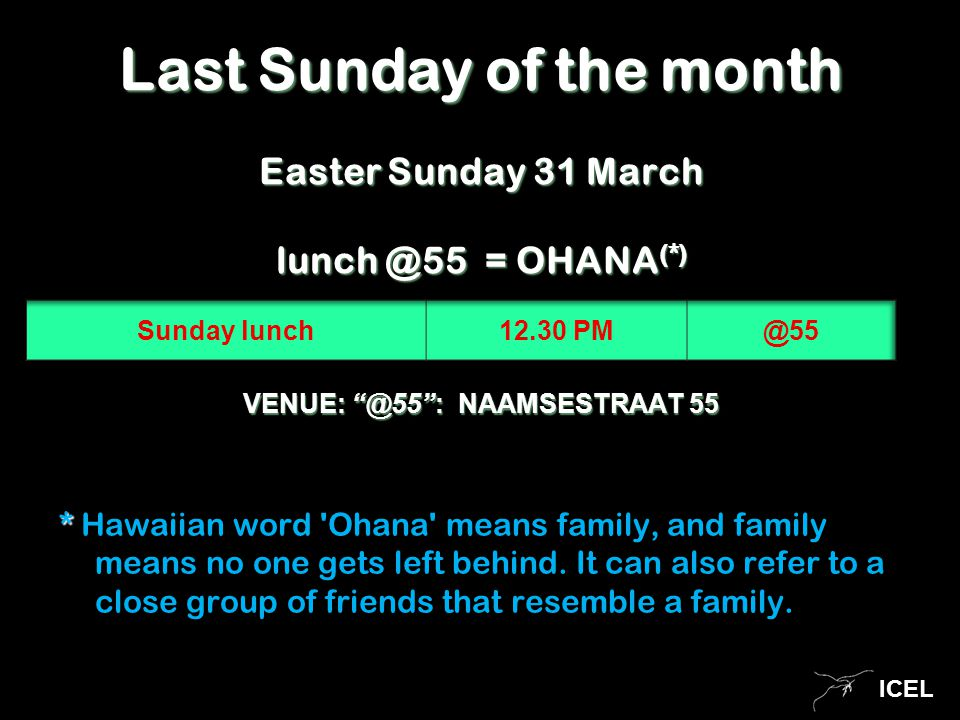ICEL VENUE: @55 : NAAMSESTRAAT 55 * * Hawaiian word Ohana means family, and family means no one gets left behind.