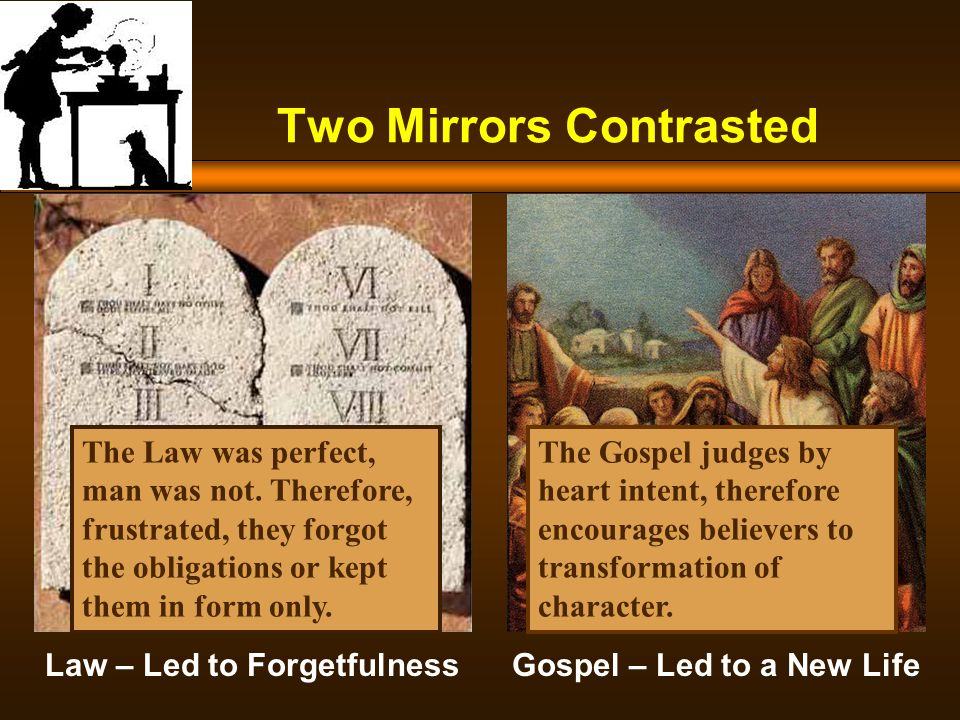 Two Mirrors Contrasted Law – Led to Forgetfulness Gospel – Led to a New Life The Law was perfect, man was not.