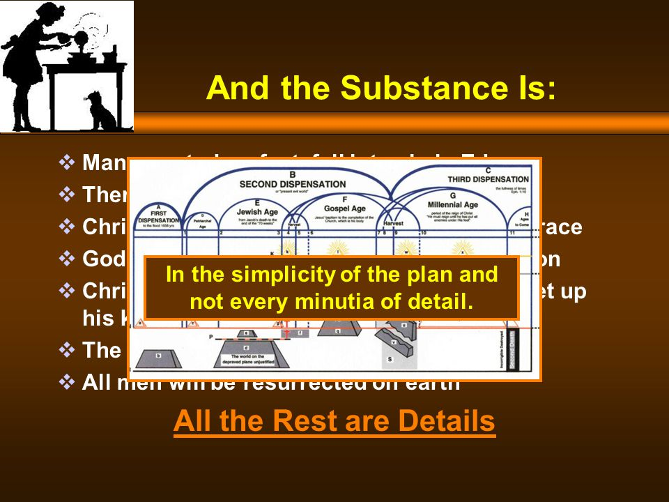 And the Substance Is:  Man, created perfect, fell into sin in Eden  Therefore all were born into a sinful state  Christ died to redeem Adam and his entire race  God has called out of man a bride for his Son  Christ has returned for his church and to set up his kingdom  The Church is to receive a heavenly reward  All men will be resurrected on earth All the Rest are Details In the simplicity of the plan and not every minutia of detail.