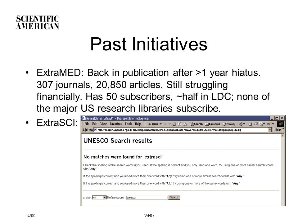 04/00WHO Past Initiatives ExtraMED: Back in publication after >1 year hiatus. 307 journals, 20,850 articles. Still struggling financially. Has 50 subs