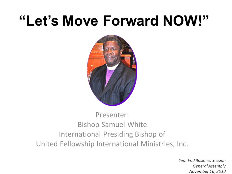 Progression In Ministry (From one level to the next level) Bishop (Without A Charge) Elevation Upon Recommendation of the Executive Board of Bishops Jurisdictional Bishop Elevation Upon Recommendation of the Executive Board of Bishops Regional Bishop Elevation Upon Recommendation of the Executive Board of Bishops
