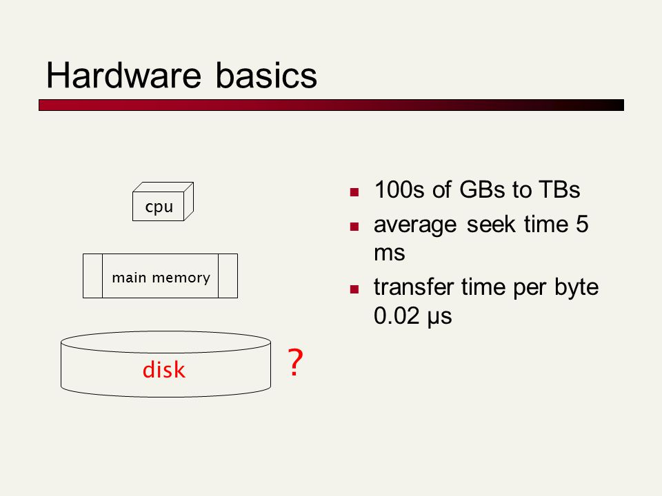 Hardware basics 100s of GBs to TBs average seek time 5 ms transfer time per byte 0.02 μs disk main memory cpu ?