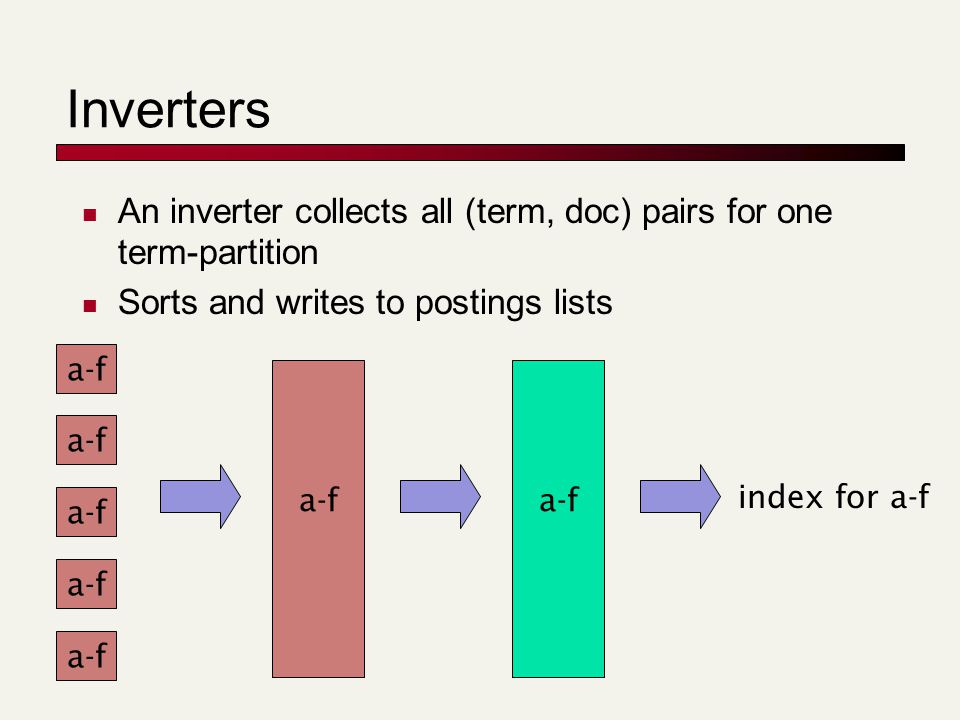 Inverters An inverter collects all (term, doc) pairs for one term-partition Sorts and writes to postings lists a-f index for a-f a-f