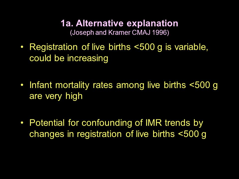 1a. Alternative explanation (Joseph and Kramer CMAJ 1996) Registration of live births <500 g is variable, could be increasing Infant mortality rates a