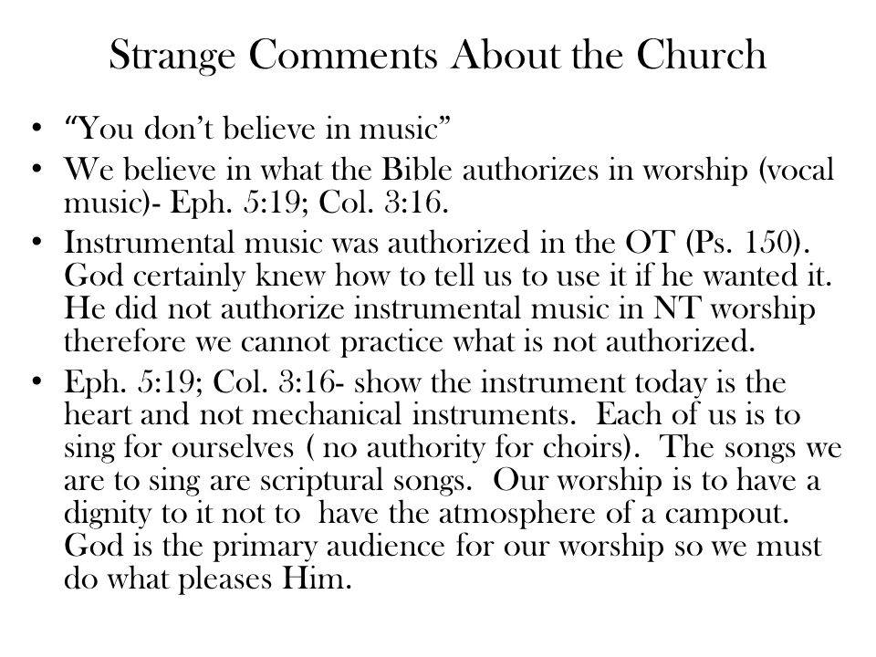 Strange Things Heard The church of Christ is a cult Define cult- a religion regarded as unorthodox devotion to a person or thing a religious group centered around a charismatic person that engages in mind-control and rejects the Bible as sole authority. Cult- Religiously it describes a group that typically follows a charismatic leader other than Christ and believes in special revelation. - Kingdom of the Cults- The Lord's church does not fit this description but has been called a sect by some (Acts 24:5; 28:22).