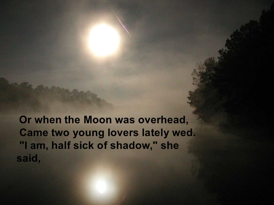 Or when the Moon was overhead, Came two young lovers lately wed.