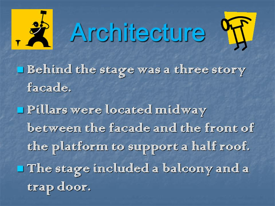 Architecture Behind the stage was a three story facade.