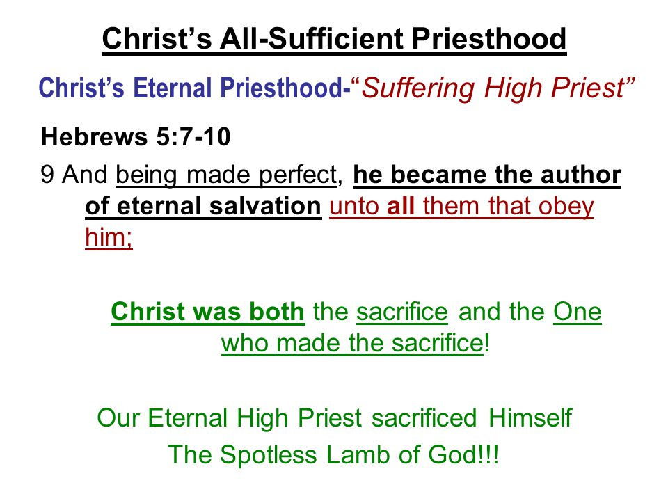 """Christ's All-Sufficient Priesthood Christ's Eternal Priesthood- """"Suffering High Priest"""" Hebrews 5:7-10 9 And being made perfect, he became the author"""