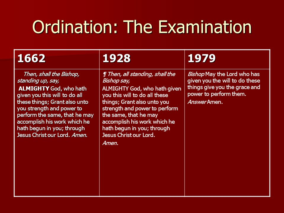 Ordination: The Examination 166219281979 Then, shall the Bishop, standing up, say, Then, shall the Bishop, standing up, say, ALMIGHTY God, who hath gi