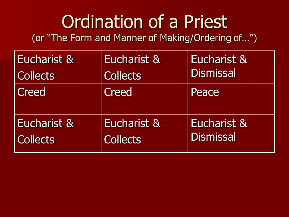 Ordination of a Priest (or The Form and Manner of Making/Ordering of… ) Eucharist & Collects Collects Eucharist & Dismissal CreedCreedPeace Eucharist & Collects Collects Eucharist & Dismissal