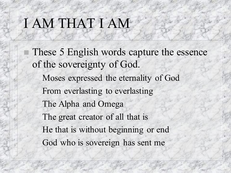 I AM THAT I AM n These 5 English words capture the essence of the sovereignty of God.
