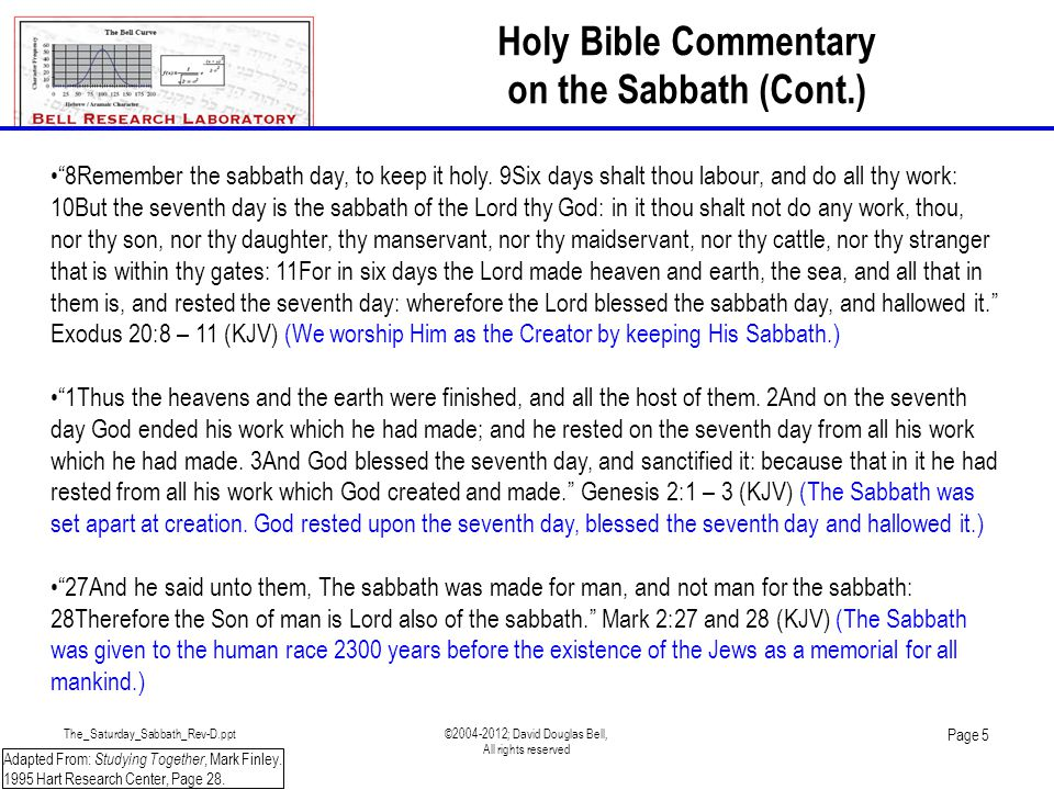 The_Saturday_Sabbath_Rev-D.ppt©2004-2012; David Douglas Bell, All rights reserved Page 26 BACKUP SLIDES