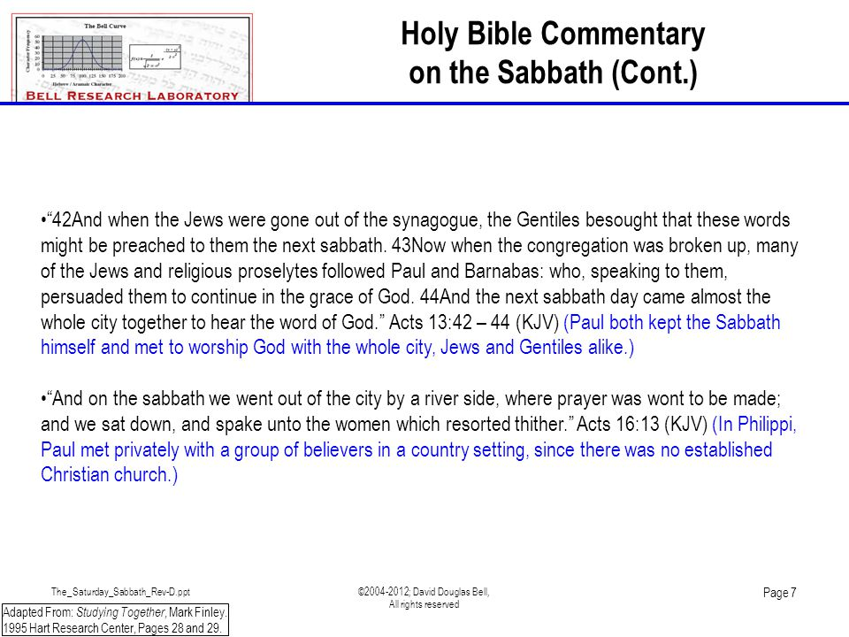 The_Saturday_Sabbath_Rev-D.ppt©2004-2012; David Douglas Bell, All rights reserved Page 8 Adapted From: Studying Together, Mark Finley.