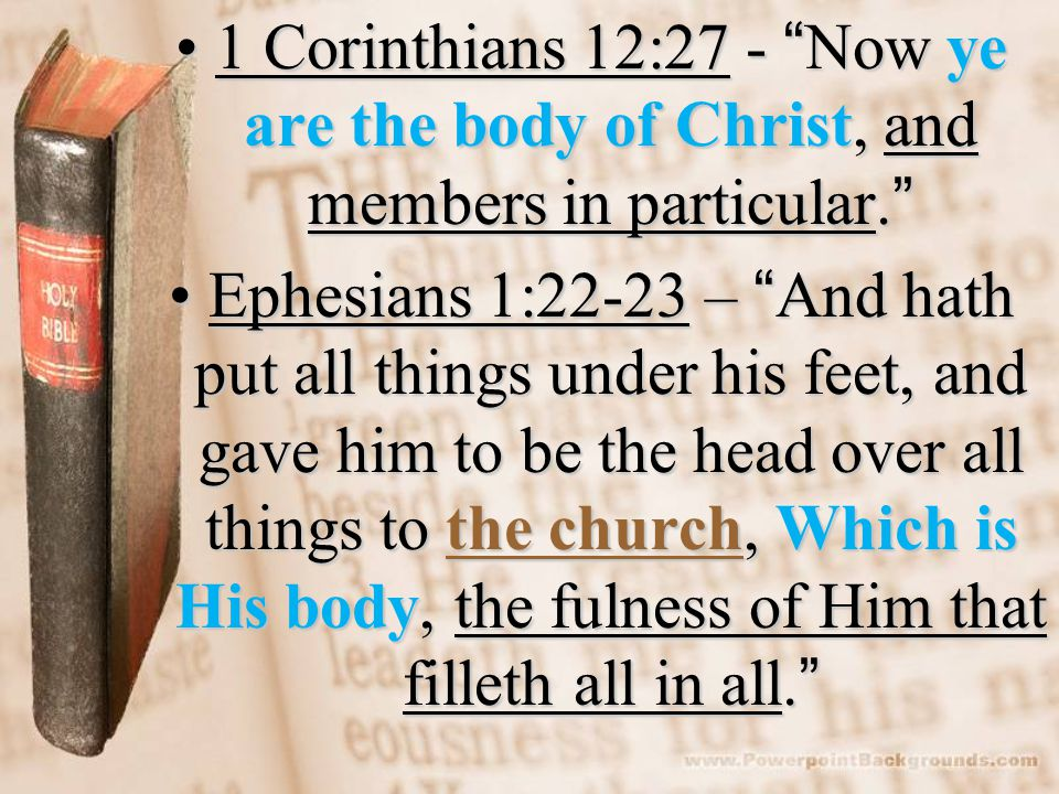 1 Corinthians 12:27 - Now ye are the body of Christ, and members in particular. 1 Corinthians 12:27 - Now ye are the body of Christ, and members in particular. Ephesians 1:22-23 – And hath put all things under his feet, and gave him to be the head over all things to the church, Which is His body, the fulness of Him that filleth all in all. Ephesians 1:22-23 – And hath put all things under his feet, and gave him to be the head over all things to the church, Which is His body, the fulness of Him that filleth all in all.