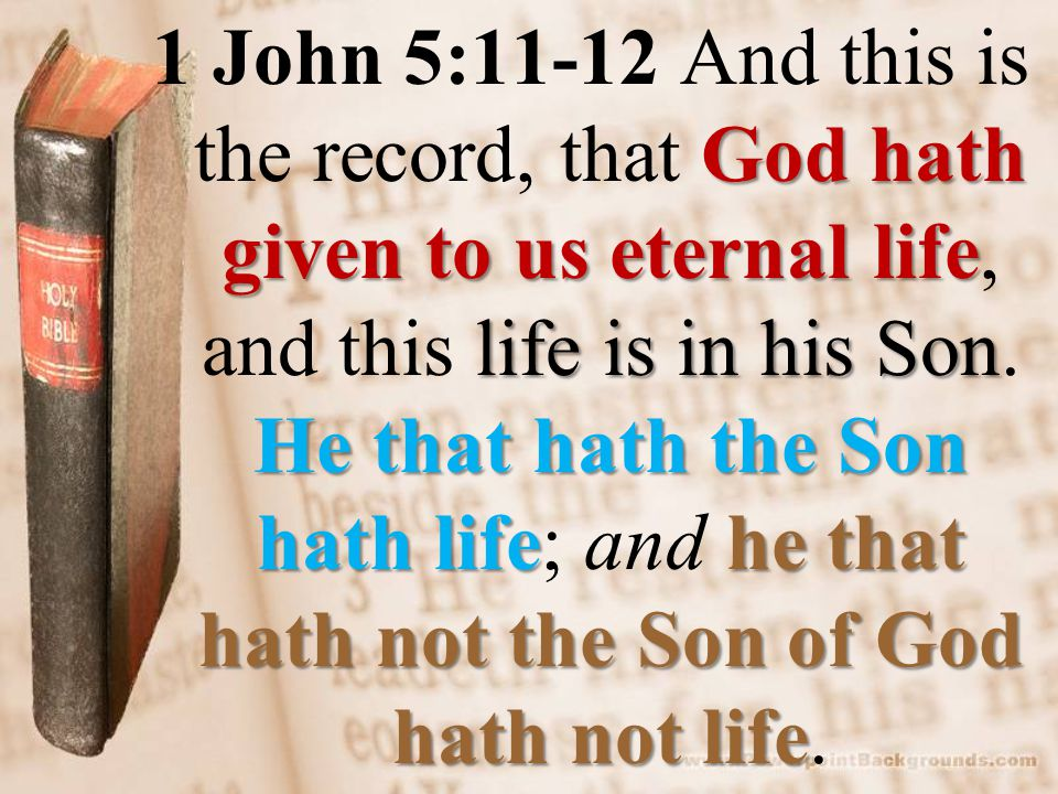 God hath given to us eternal life life is in his Son He that hath the Son hath lifehe that hath not the Son of God hath not life 1 John 5:11-12 And this is the record, that God hath given to us eternal life, and this life is in his Son.