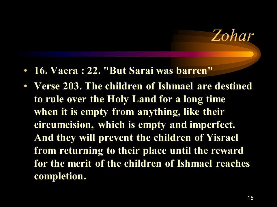 15 Zohar 16. Vaera : 22. But Sarai was barren Verse 203.
