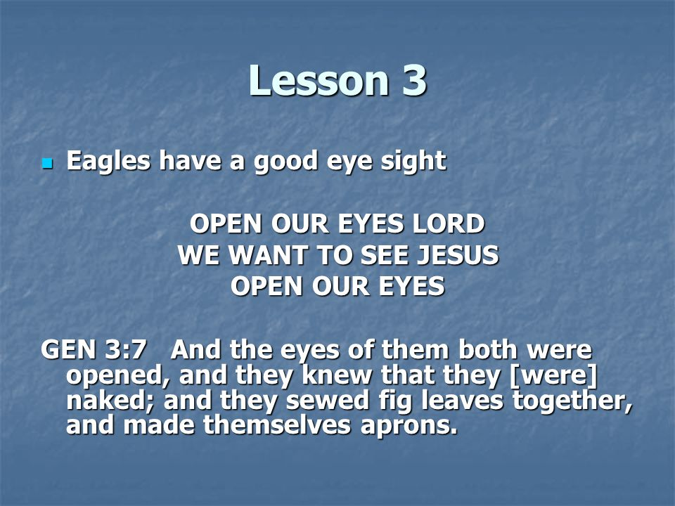 Lesson 3 Eagles have a good eye sight Eagles have a good eye sight OPEN OUR EYES LORD WE WANT TO SEE JESUS OPEN OUR EYES GEN 3:7 And the eyes of them both were opened, and they knew that they [were] naked; and they sewed fig leaves together, and made themselves aprons.