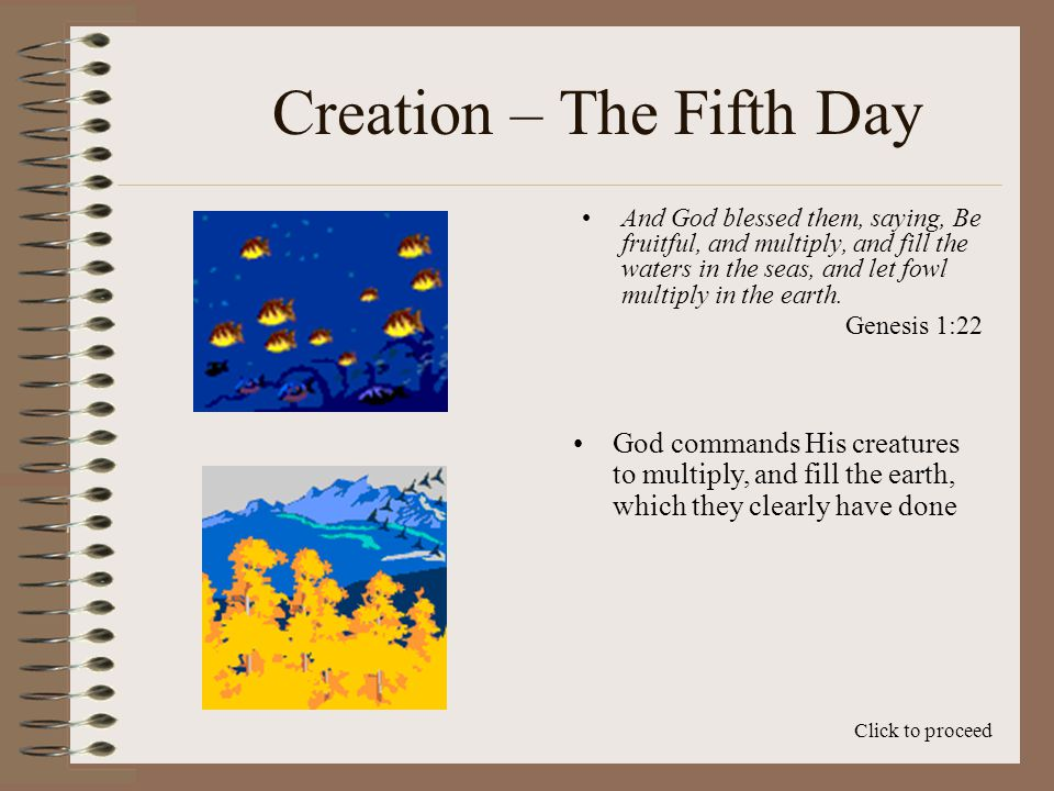 Creation – The Fifth Day To solve this dilemma, we turn again to three key points Click to proceed First, the days of creation explain groupings of events, and not necessarily firm beginning and ending points Second, we must always remember that time with God is not the same as time with man (II Peter 3:8) Finally, we use our theory of Creation Overlap Using Groupings, Time, and Creation Overlap, there is no conflict between the fossil record, and the order of events in the Genesis account