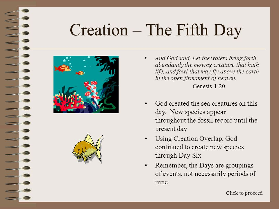 Creation – The Fifth Day And God said, Let the waters bring forth abundantly the moving creature that hath life, and fowl that may fly above the earth in the open firmament of heaven.