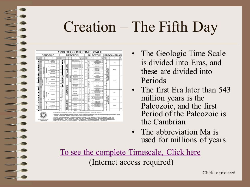 Creation – The Fifth Day The first Era later than 543 million years is the Paleozoic, and the first Period of the Paleozoic is the Cambrian The abbreviation Ma is used for millions of years Click to proceed The Geologic Time Scale is divided into Eras, and these are divided into Periods To see the complete Timescale, Click here (Internet access required)
