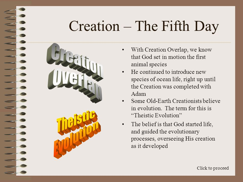 Creation – The Fifth Day The first Era later than 543 million years is the Paleozoic, and the first Period of the Paleozoic is the Cambrian Click to proceed Over the next 540 Ma, God created the ocean life, and it gradually became more complex Trilobites – 540 Ma Octopus – 130 Ma Belemnites – 360 Ma