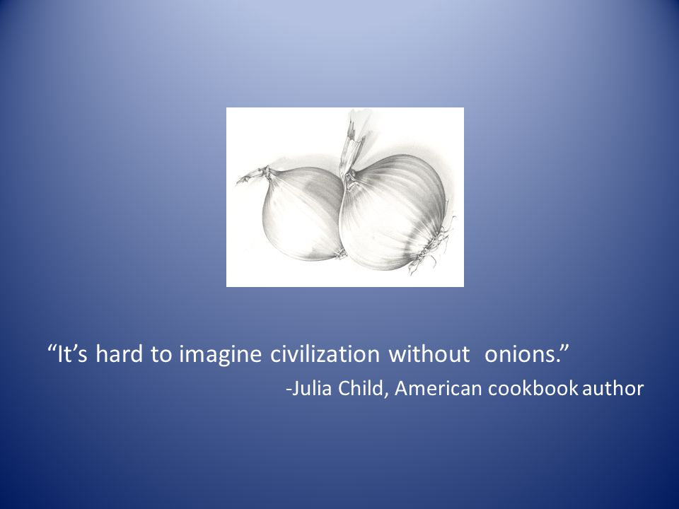 It's hard to imagine civilization without onions. -Julia Child, American cookbook author