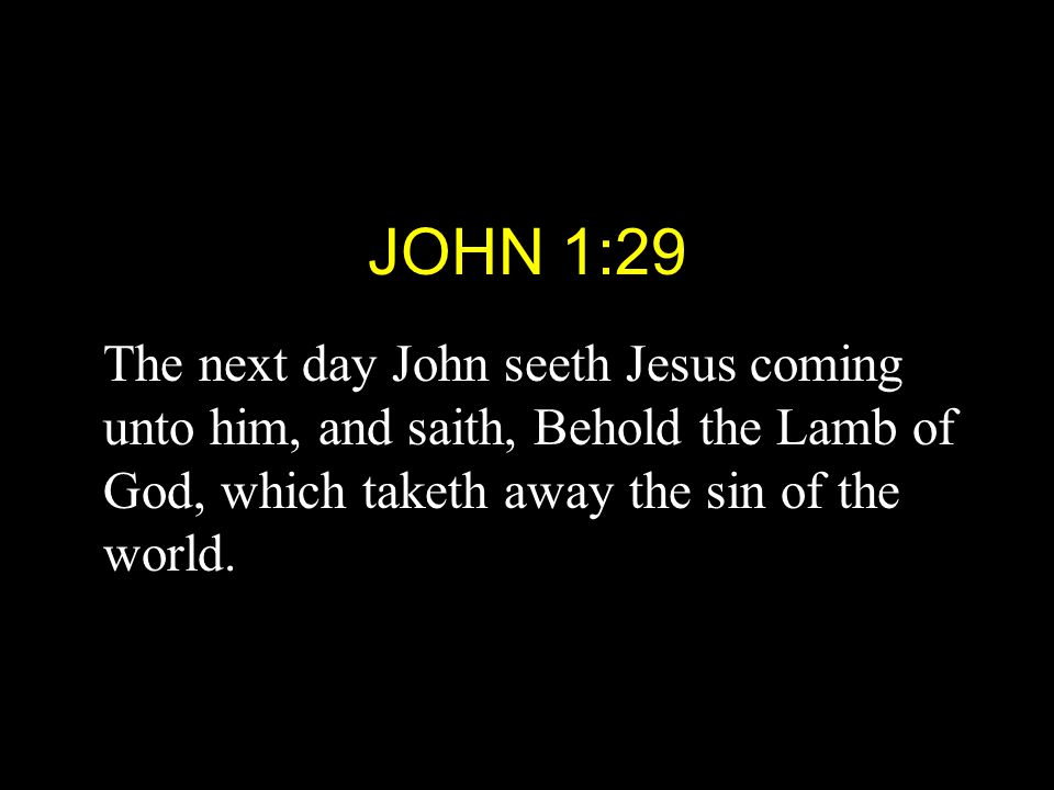 JOHN 1:29 The next day John seeth Jesus coming unto him, and saith, Behold the Lamb of God, which taketh away the sin of the world.