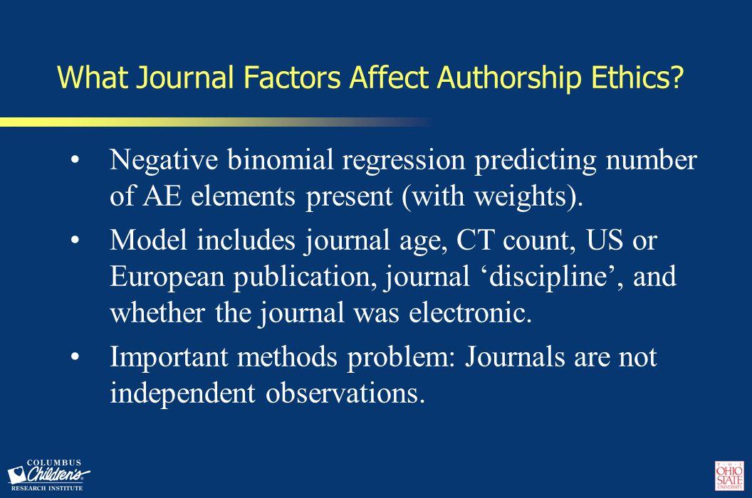 What Journal Factors Affect Authorship Ethics.