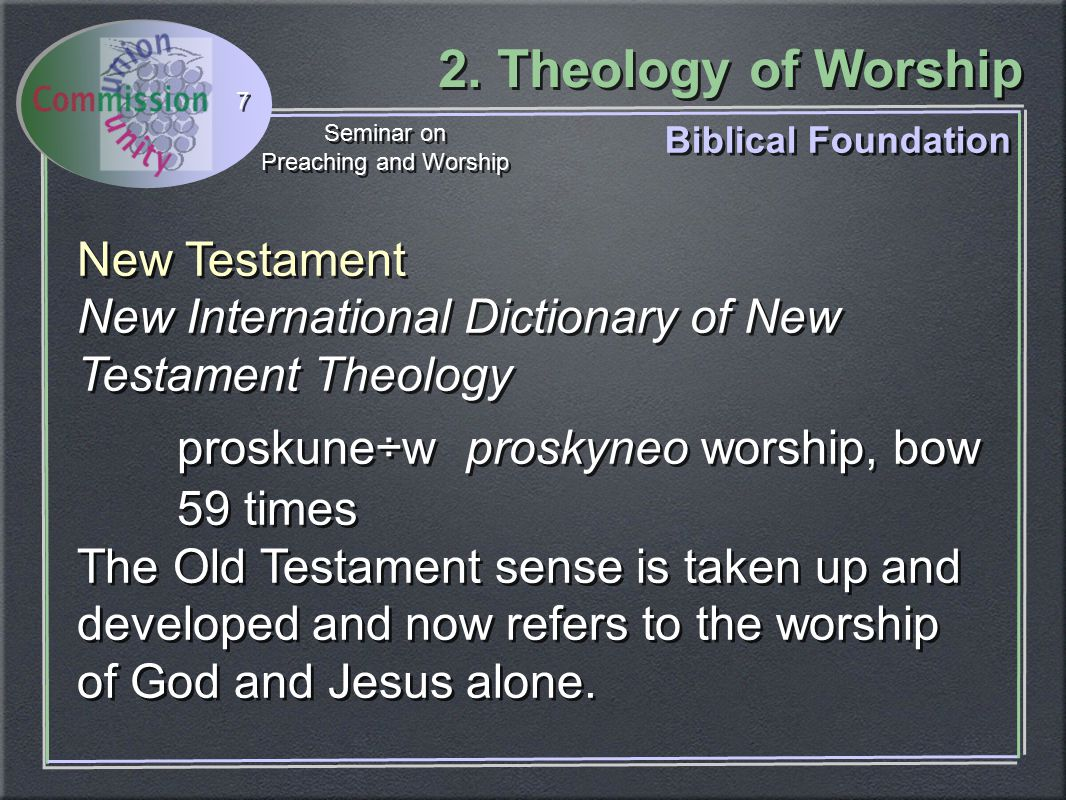 2. Theology of Worship Seminar on Preaching and Worship Seminar on Preaching and Worship 7 New Testament New International Dictionary of New Testament