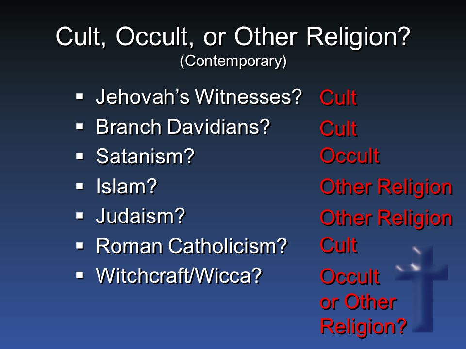 Cult, Occult, or Other Religion. (Contemporary)  Jehovah's Witnesses.