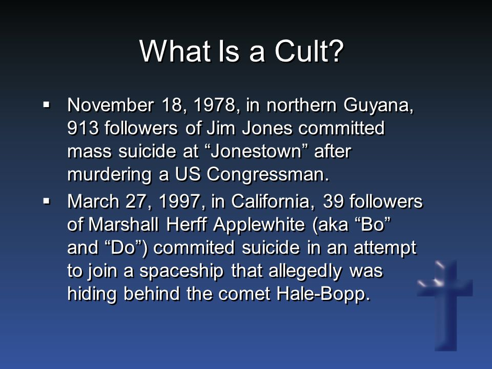 Why Do Cults Exist.Do cults exist because of the failure of the church.