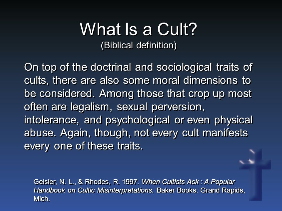 Is This True.Do cults exist because of the failure of the church.