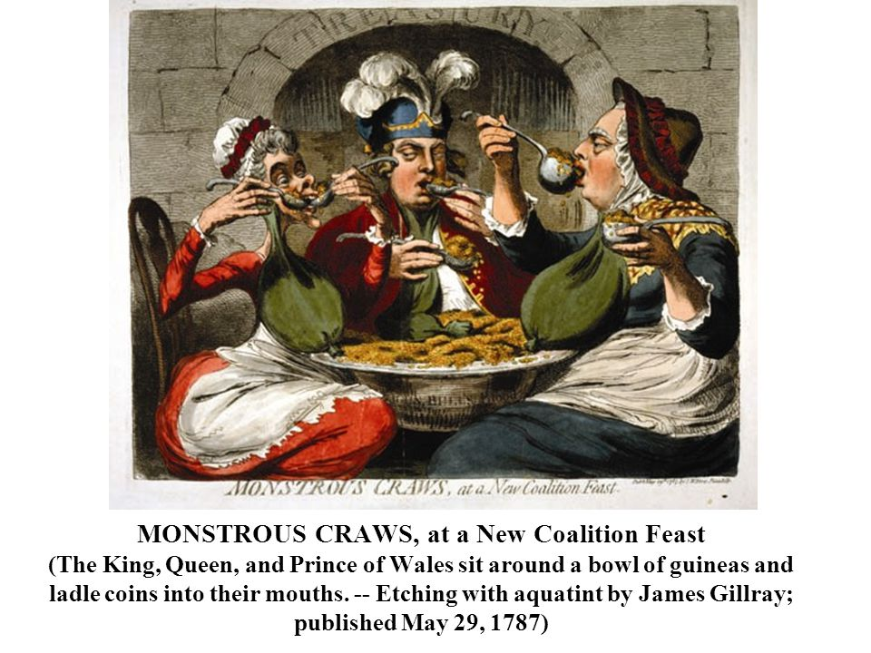 MONSTROUS CRAWS, at a New Coalition Feast (The King, Queen, and Prince of Wales sit around a bowl of guineas and ladle coins into their mouths.