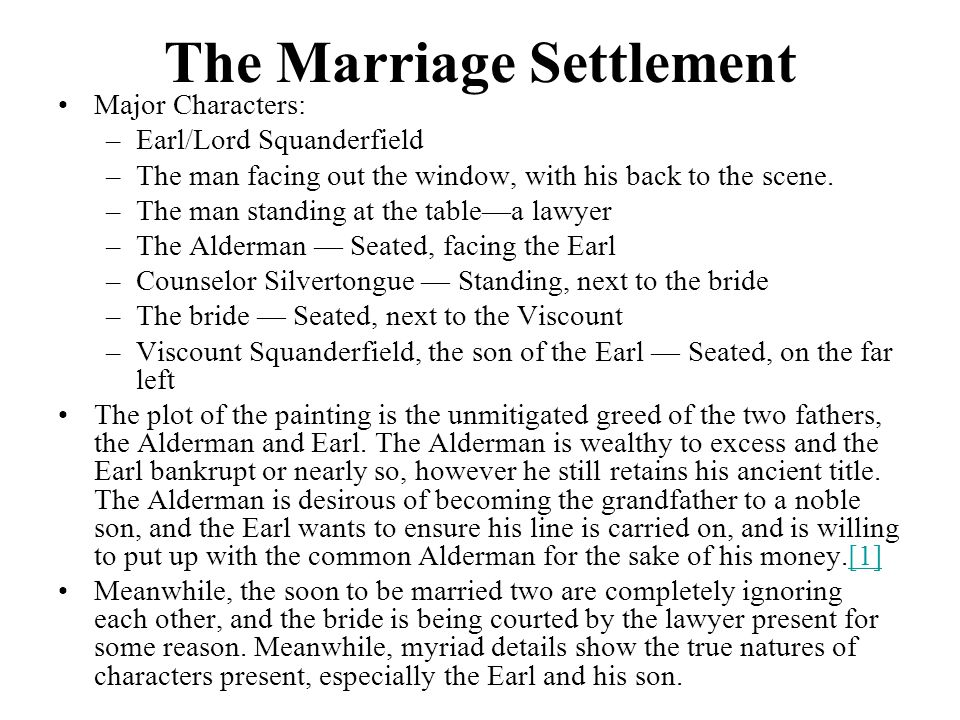 The Marriage Settlement Major Characters: –Earl/Lord Squanderfield –The man facing out the window, with his back to the scene.