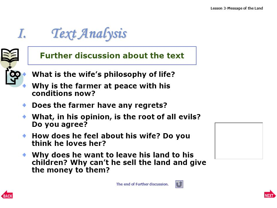 Lesson 3-Message of the Land What does the wife think of her husband.
