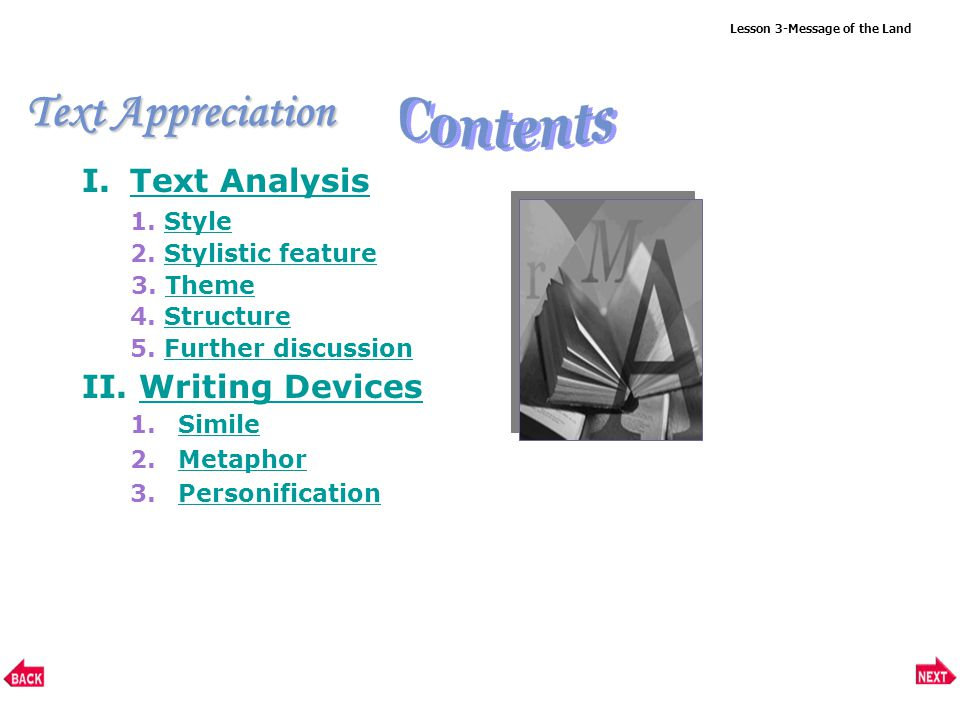 Text Appreciation Lesson 3-Message of the Land I.Text AnalysisText Analysis 1.