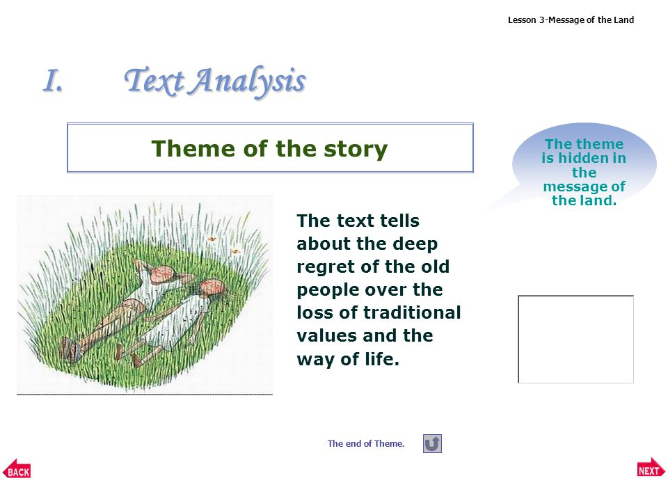 Lesson 3-Message of the Land I.Text Analysis Question: What can we learn from the last paragraph.