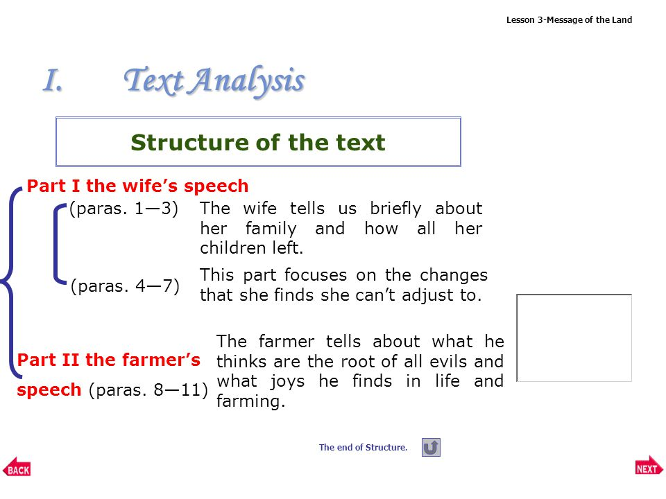Lesson 3-Message of the Land I.Text Analysis Structure of the text Part I the wife's speech (paras.