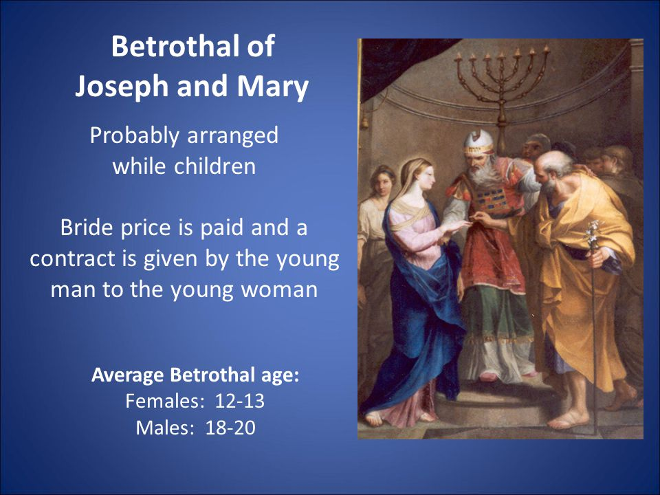 Betrothal of Joseph and Mary Probably arranged while children Bride price is paid and a contract is given by the young man to the young woman Average Betrothal age: Females: 12-13 Males: 18-20