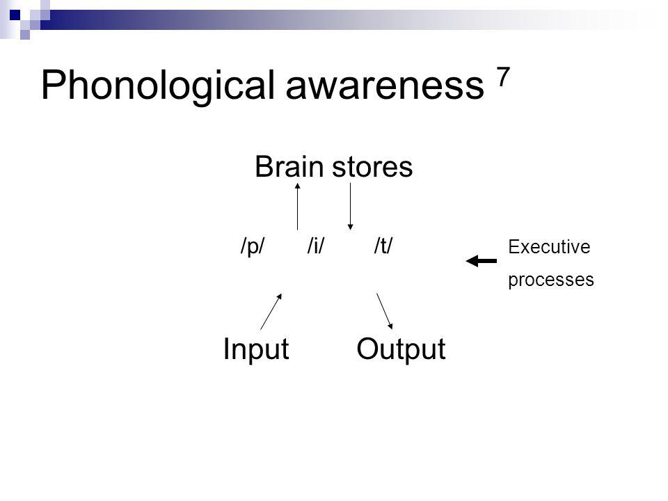 Phonological awareness 7 Brain stores /p//i//t/ Executive processes InputOutput