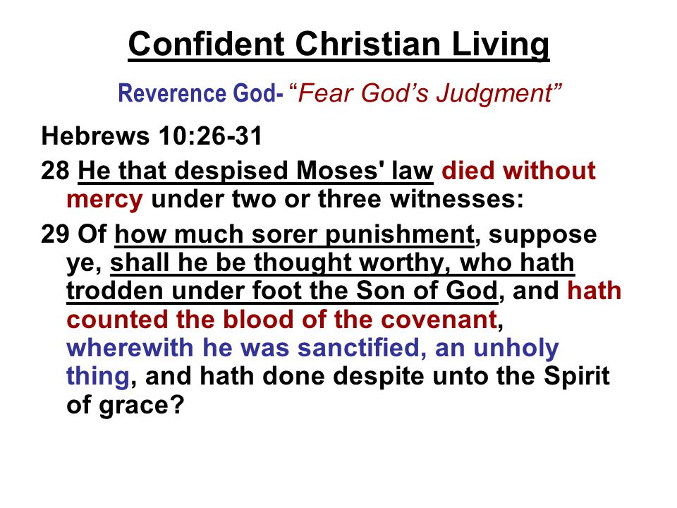 Confident Christian Living Reverence God- Fear God's Judgment Hebrews 10:26-31 28 He that despised Moses law died without mercy under two or three witnesses: 29 Of how much sorer punishment, suppose ye, shall he be thought worthy, who hath trodden under foot the Son of God, and hath counted the blood of the covenant, wherewith he was sanctified, an unholy thing, and hath done despite unto the Spirit of grace