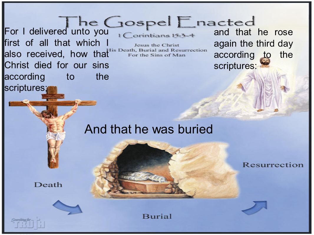For I delivered unto you first of all that which I also received, how that Christ died for our sins according to the scriptures; And that he was buried and that he rose again the third day according to the scriptures: