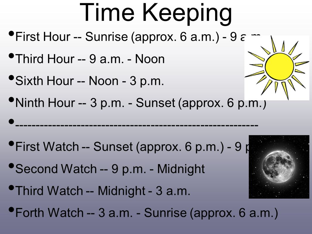 Time Keeping First Hour -- Sunrise (approx. 6 a.m.) - 9 a.m.